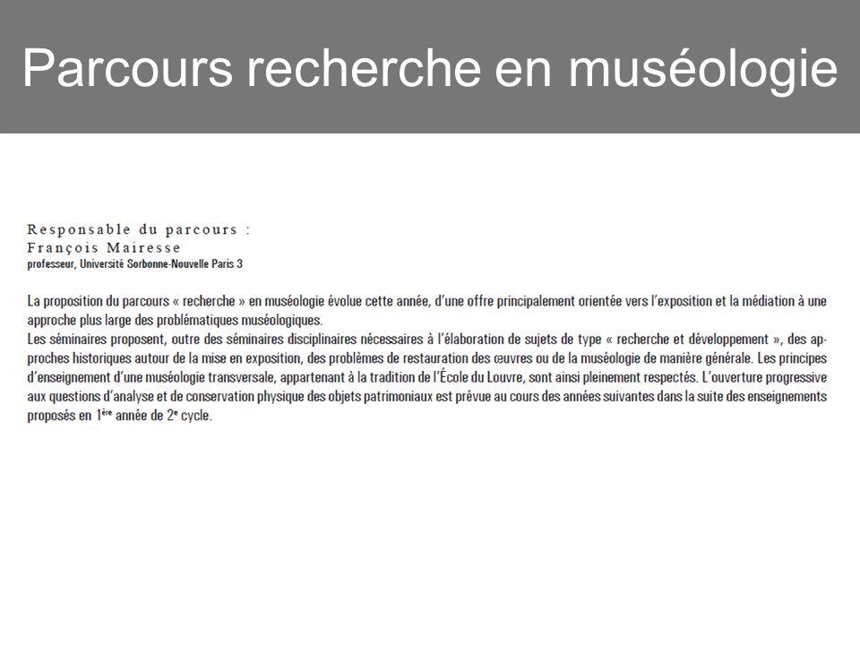Parcours recherche en muséologie