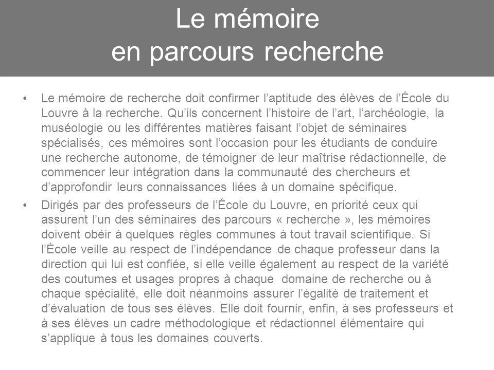 Le mémoire en parcours recherche
