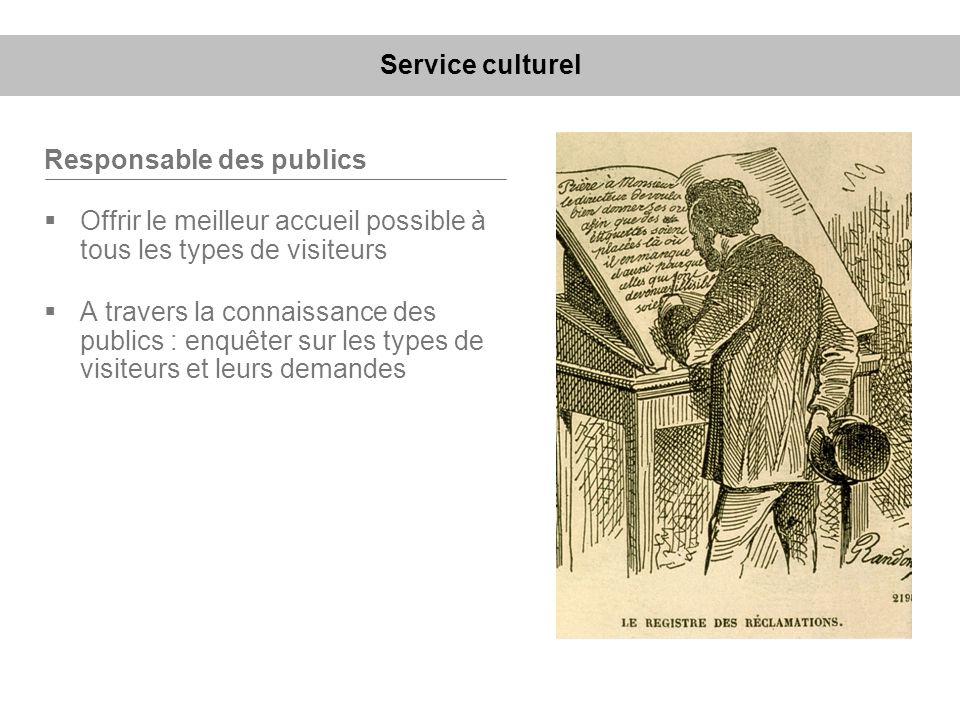 Service culturel Responsable des publics. Offrir le meilleur accueil possible à tous les types de visiteurs.