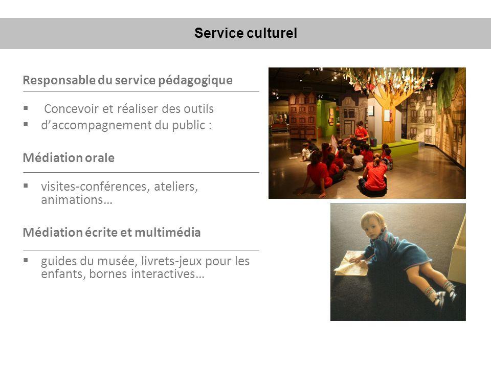 Service culturel Responsable du service pédagogique. Concevoir et réaliser des outils. d'accompagnement du public :