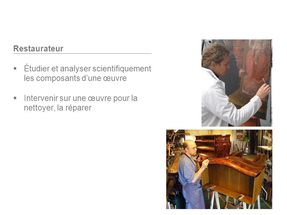 Restaurateur Étudier et analyser scientifiquement les composants d'une œuvre.
