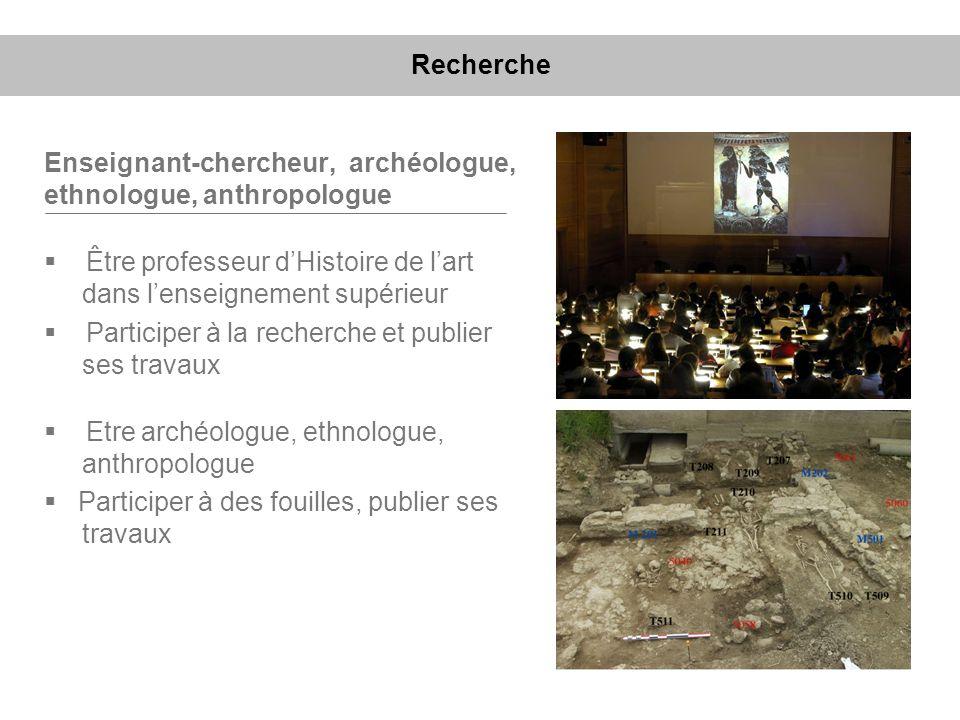 Recherche Enseignant-chercheur, archéologue, ethnologue, anthropologue. Être professeur d'Histoire de l'art dans l'enseignement supérieur.