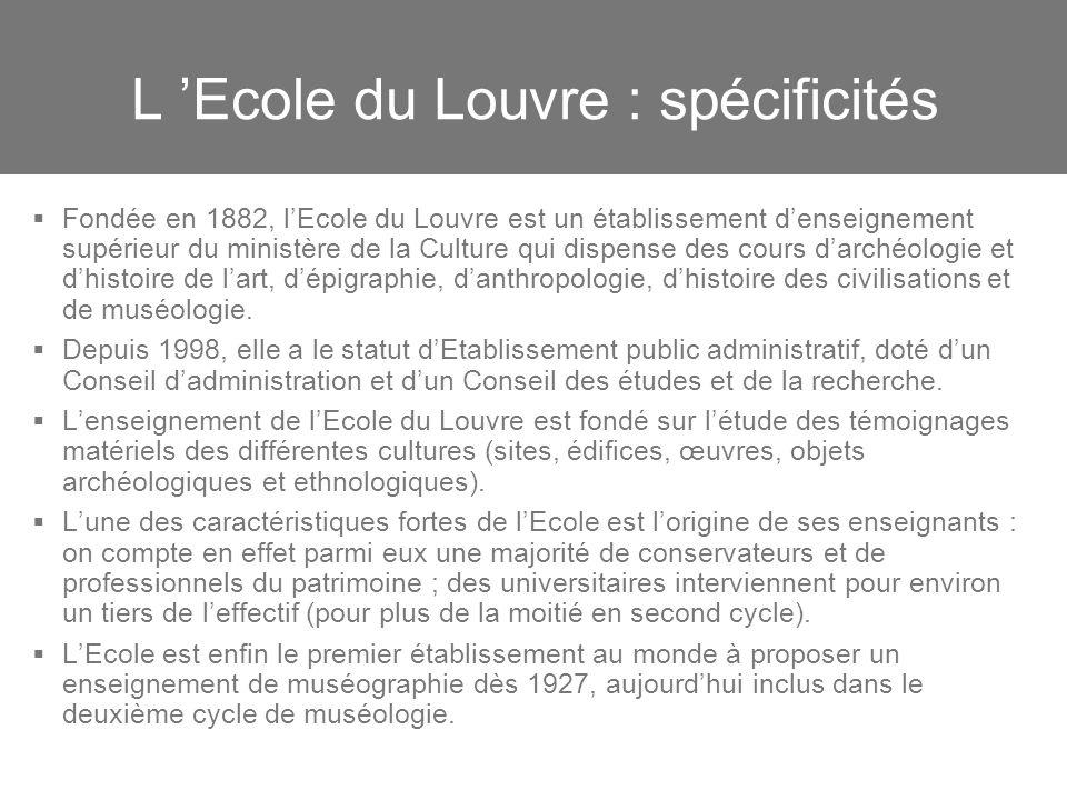 L 'Ecole du Louvre : spécificités