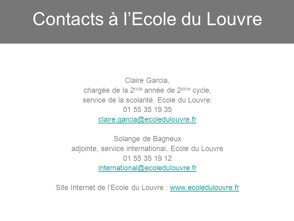 Contacts à l'Ecole du Louvre