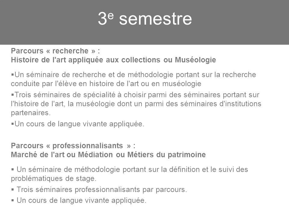 3e semestre. Parcours « recherche » : Histoire de l art appliquée aux collections ou Muséologie.