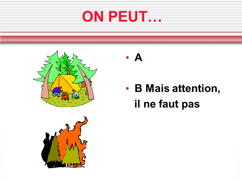 ON PEUT… A B Mais attention, il ne faut pas