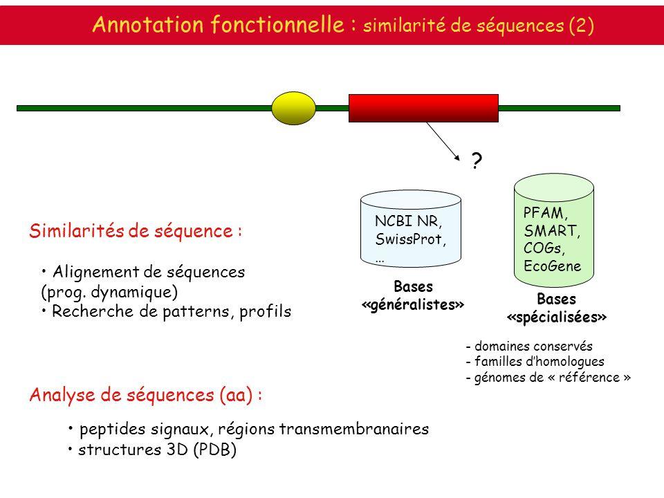 Annotation fonctionnelle : similarité de séquences (2)