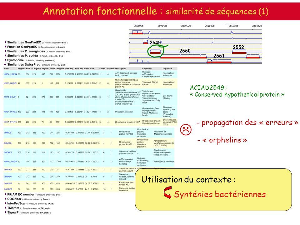  Annotation fonctionnelle : similarité de séquences (1)