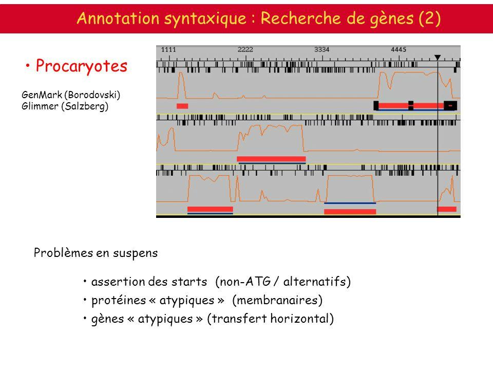 Annotation syntaxique : Recherche de gènes (2)