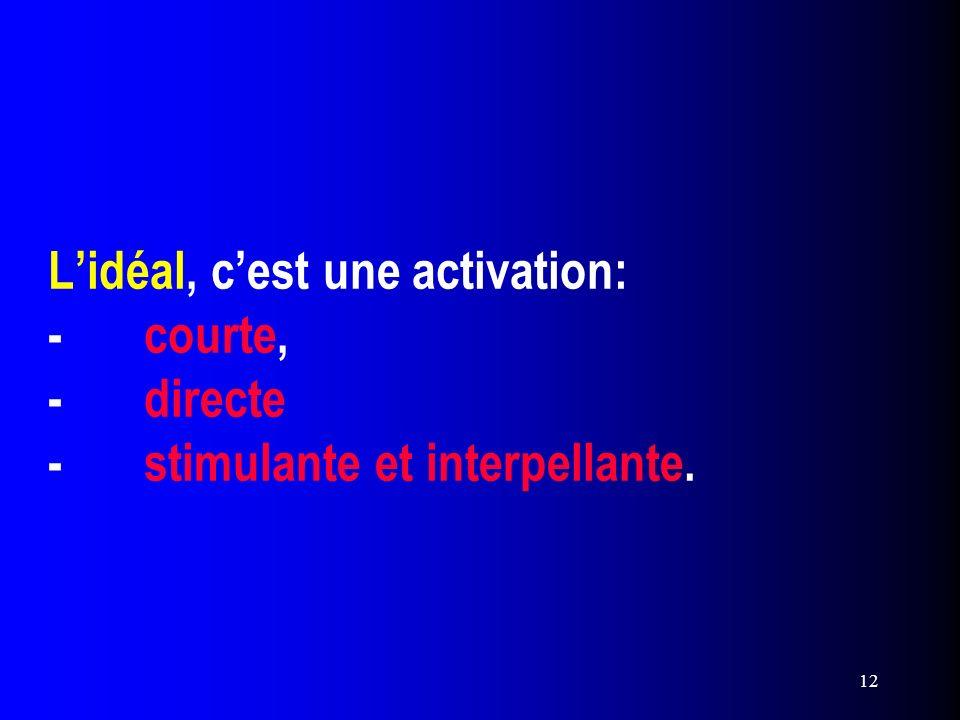 L'idéal, c'est une activation: -. courte, -. directe -