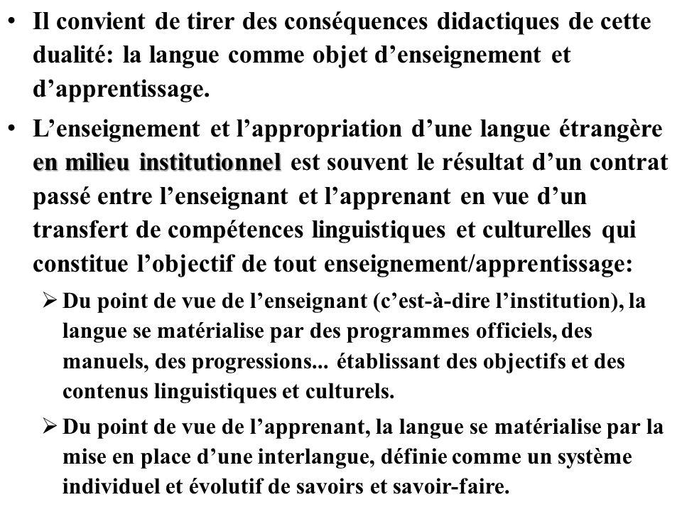 Il convient de tirer des conséquences didactiques de cette dualité: la langue comme objet d'enseignement et d'apprentissage.