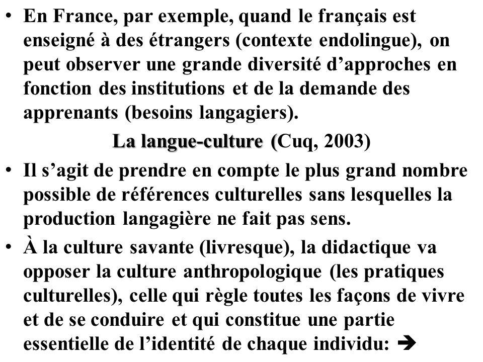 La langue-culture (Cuq, 2003)