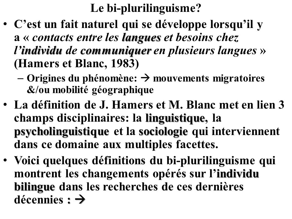 Le bi-plurilinguisme