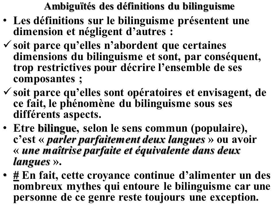 Ambiguïtés des définitions du bilinguisme