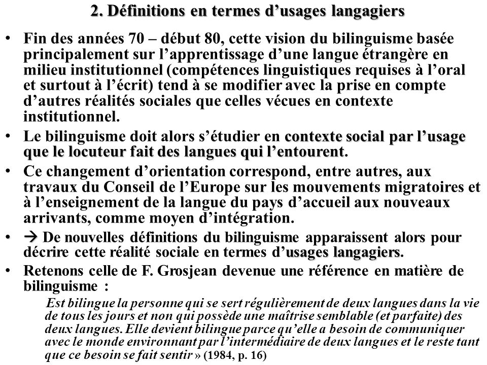 2. Définitions en termes d'usages langagiers