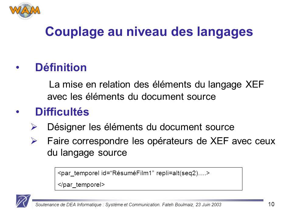Couplage au niveau des langages