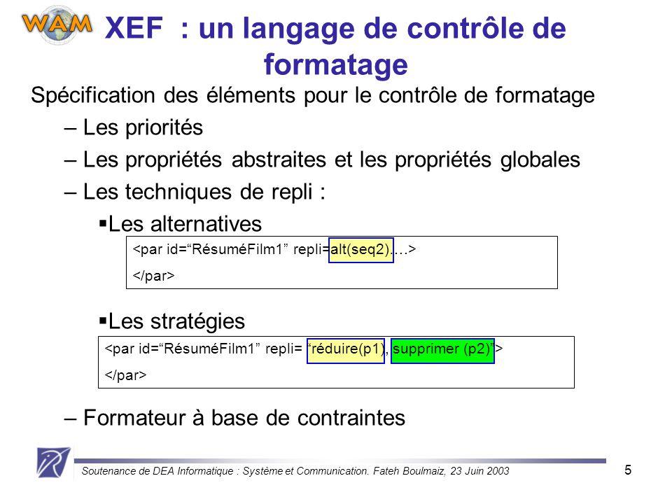 XEF : un langage de contrôle de formatage