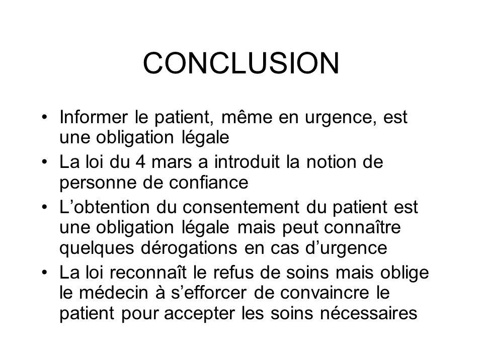 CONCLUSION Informer le patient, même en urgence, est une obligation légale. La loi du 4 mars a introduit la notion de personne de confiance.