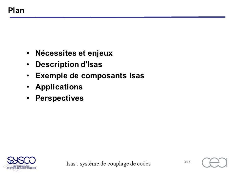 Plan Nécessites et enjeux Description d Isas Exemple de composants Isas Applications Perspectives