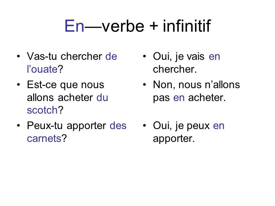 En—verbe + infinitif Vas-tu chercher de l'ouate