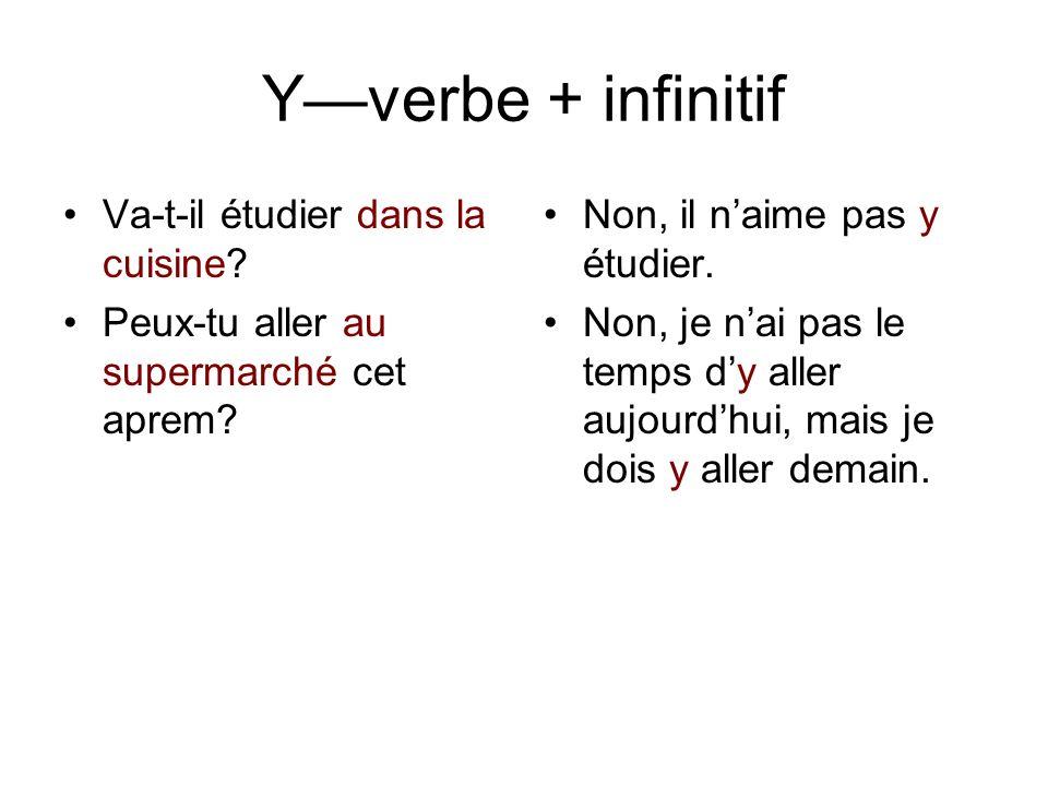 Y—verbe + infinitif Va-t-il étudier dans la cuisine