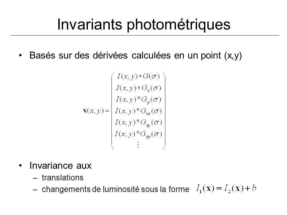 Invariants photométriques