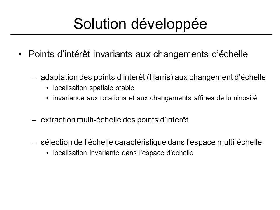 Solution développée Points d'intérêt invariants aux changements d'échelle. adaptation des points d'intérêt (Harris) aux changement d'échelle.