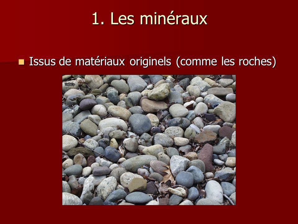 1. Les minéraux Issus de matériaux originels (comme les roches)