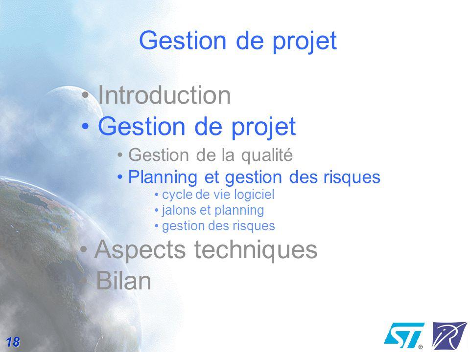 Gestion de projet Introduction Gestion de projet Aspects techniques