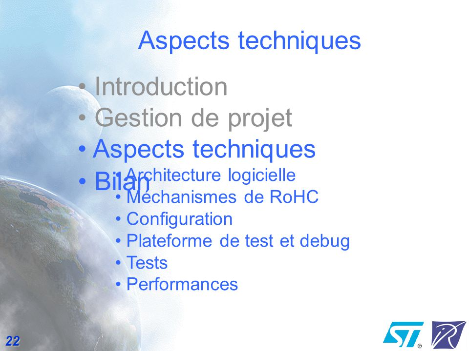 Aspects techniques Introduction Gestion de projet Aspects techniques