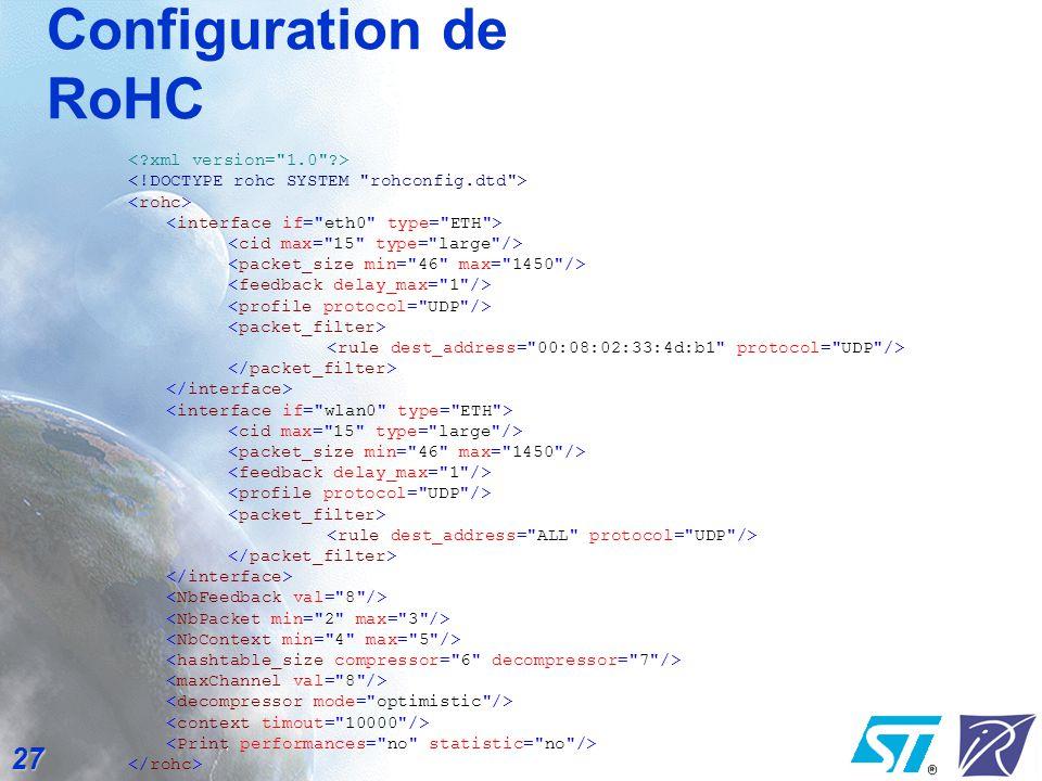 Configuration de RoHC < xml version= 1.0 >