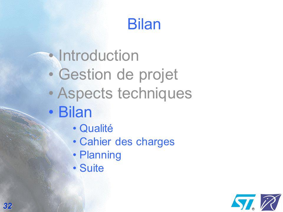 Bilan Introduction Gestion de projet Aspects techniques Bilan Qualité
