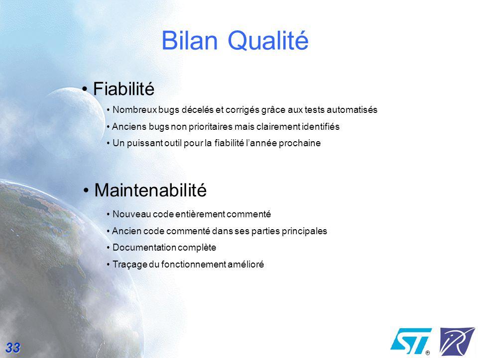 Bilan Qualité Fiabilité Maintenabilité