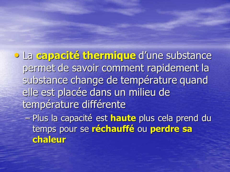 La capacité thermique d'une substance permet de savoir comment rapidement la substance change de température quand elle est placée dans un milieu de température différente