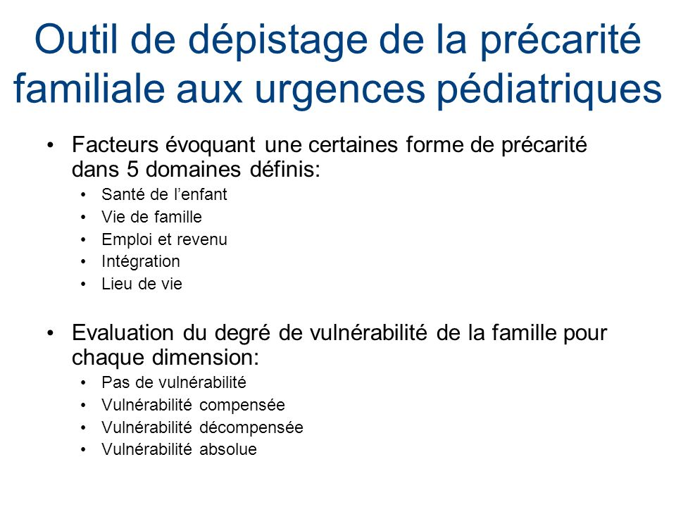 Outil de dépistage de la précarité familiale aux urgences pédiatriques