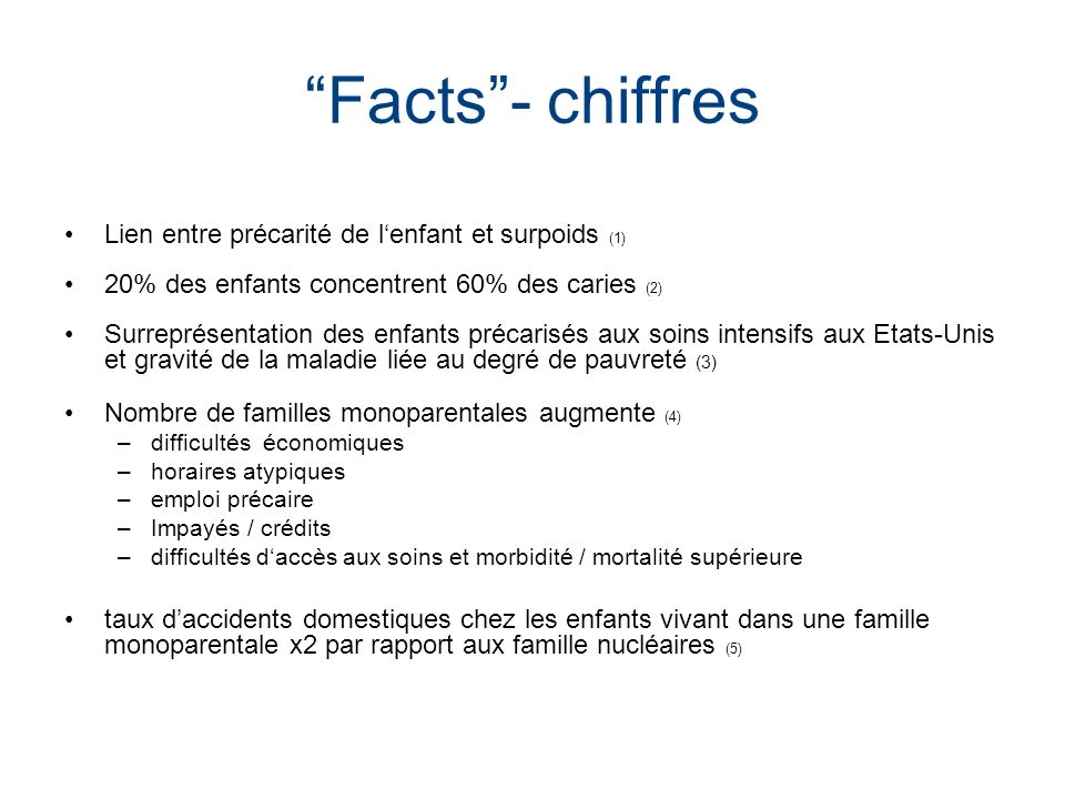 Facts - chiffres Lien entre précarité de l'enfant et surpoids (1)