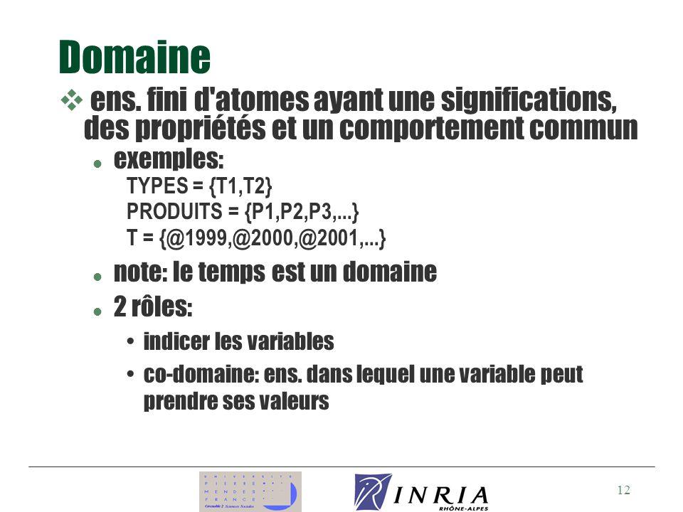 Domaine ens. fini d atomes ayant une significations, des propriétés et un comportement commun. exemples: