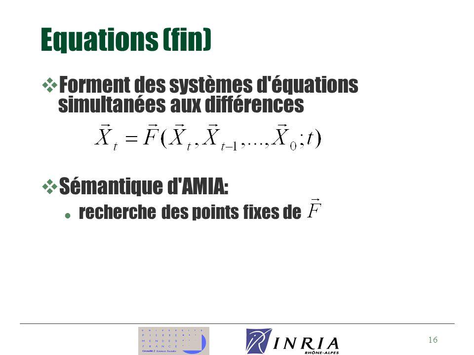 Equations (fin) Forment des systèmes d équations simultanées aux différences.