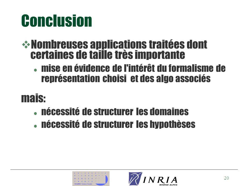 Conclusion Nombreuses applications traitées dont certaines de taille très importante.