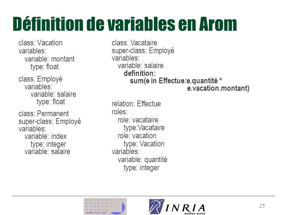 Définition de variables en Arom