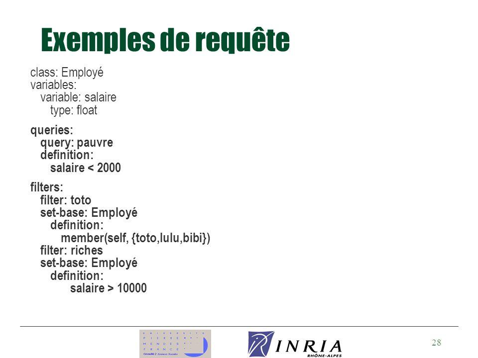 Exemples de requête class: Employé variables: variable: salaire