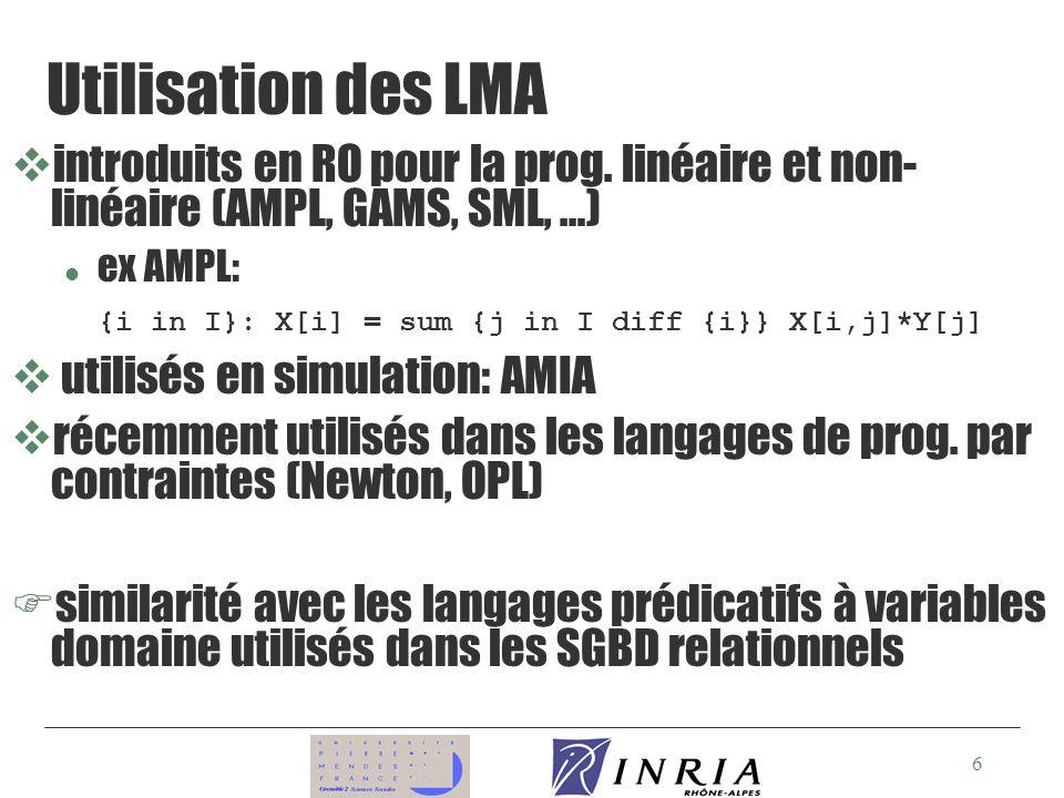 Utilisation des LMA introduits en RO pour la prog. linéaire et non-linéaire (AMPL, GAMS, SML, …) ex AMPL: