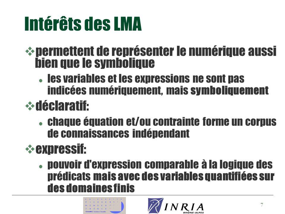 Intérêts des LMA permettent de représenter le numérique aussi bien que le symbolique.