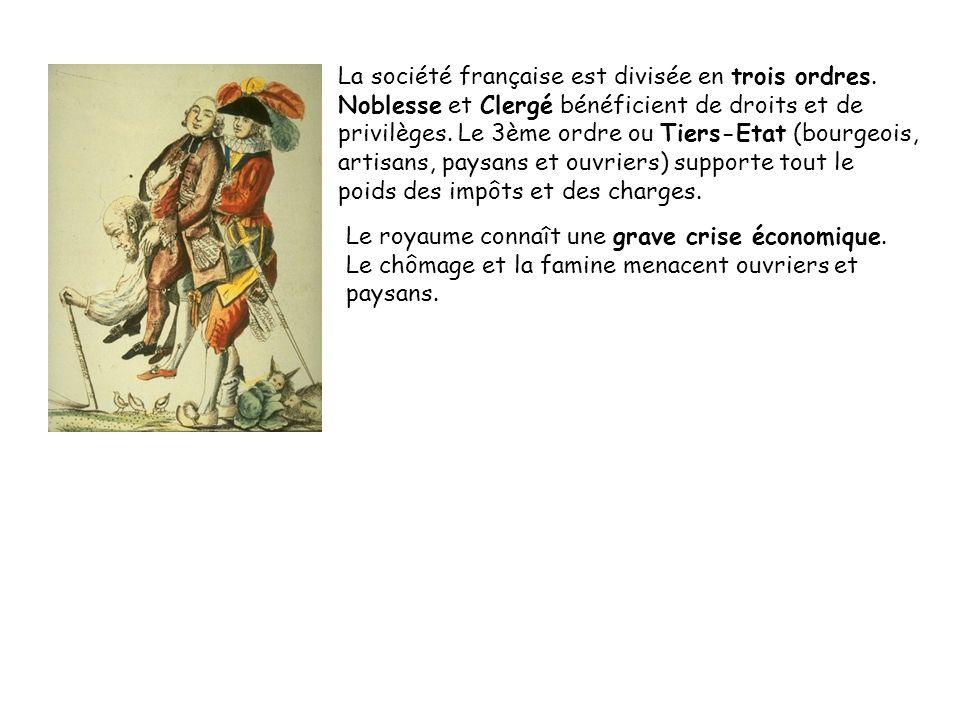 La société française est divisée en trois ordres.