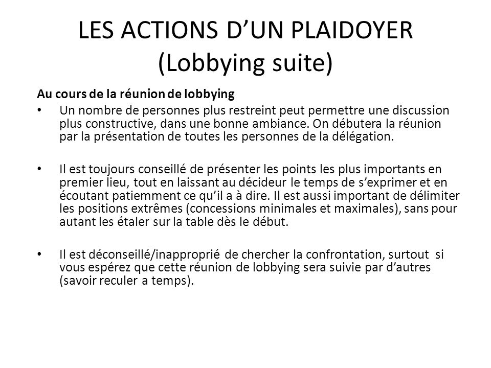 LES ACTIONS D'UN PLAIDOYER (Lobbying suite)