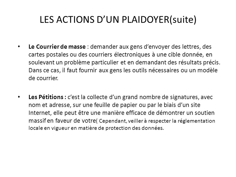 LES ACTIONS D'UN PLAIDOYER(suite)