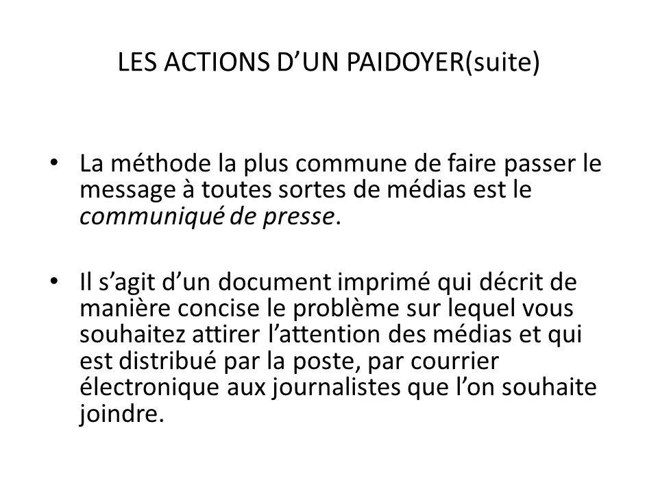 LES ACTIONS D'UN PAIDOYER(suite)