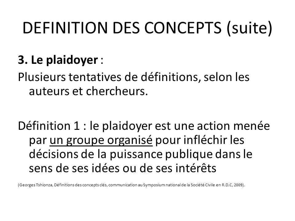 DEFINITION DES CONCEPTS (suite)