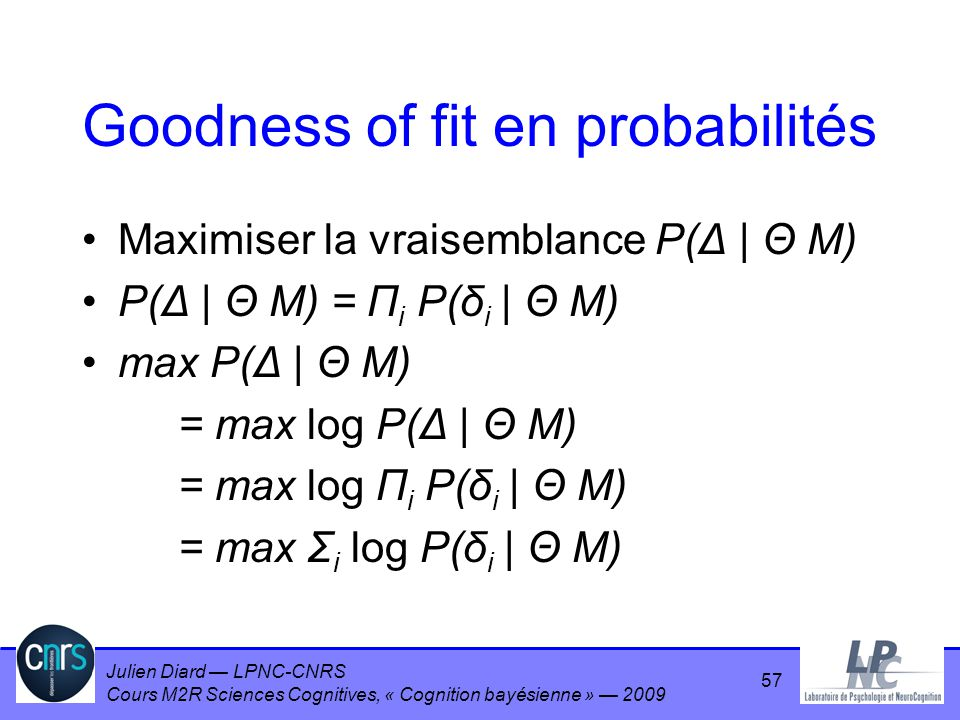 Goodness of fit en probabilités