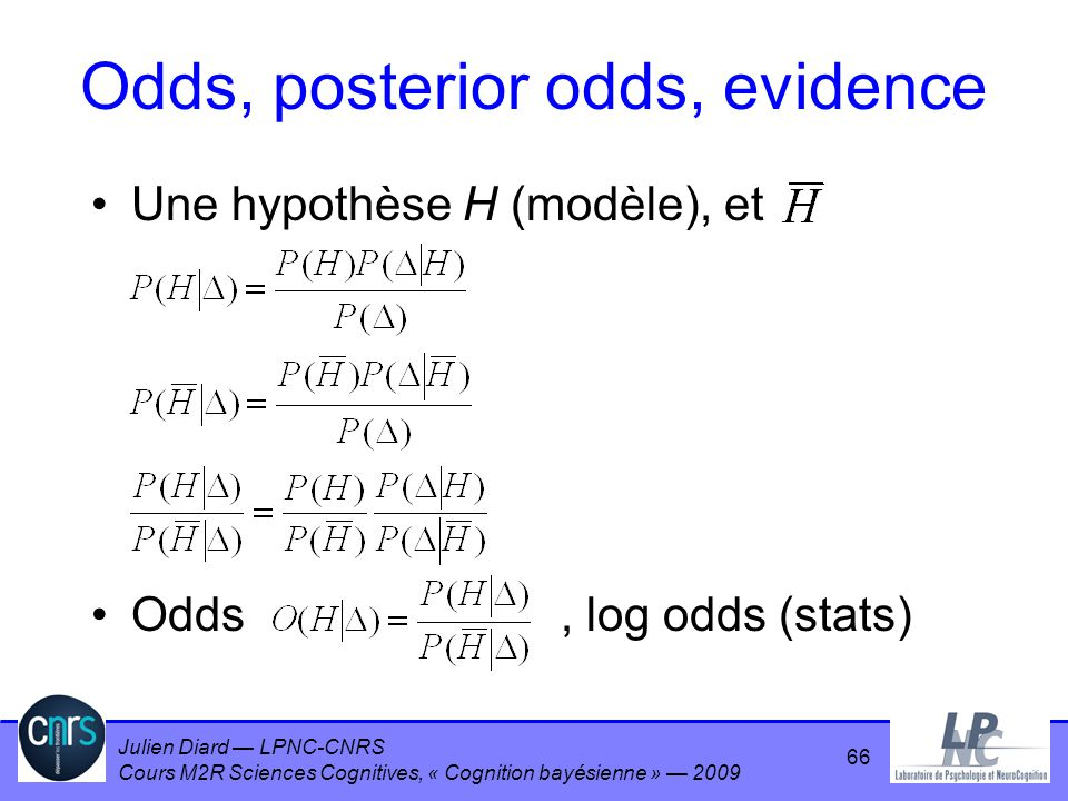 Odds, posterior odds, evidence